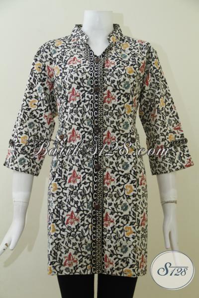 Tempat Belanja Aneka Batik Solo Online Paling Up To Date, Sedia Juga Blus Batik Modern Desain Mewah Kwalitas Bagus Cocok Untuk Ke Kantor [BLS1978CTF-M]