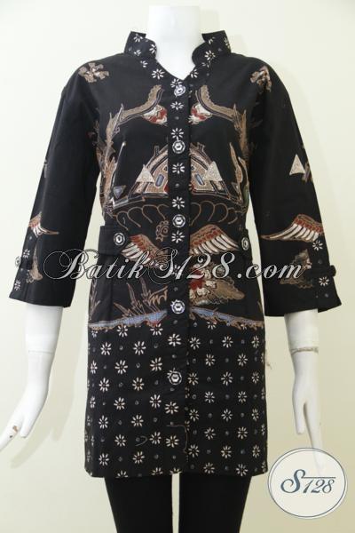 Baju Batik Blus Mewah Full Furing Untuk Wanita Karir Modern, Busana Batik Pakaian Kerja Proses Cap Tulis Desain Mewah Harga Terjangkau, Size XL