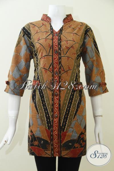 Bali Baju Batik Tulis Model Blus Terbaru Secara Online, Pakaian Batik Klasik Modern Dilengkapi Daleman Full Furing Wanita Tampil Elegan Berkelas [BLS1982TF-L]