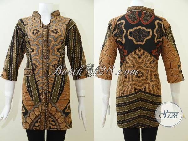 Jual Blus Batik Klasik Buatan Solo Proses Tulis, Baju Batik Full Furing Mewah Kwalitas Premium, Size L