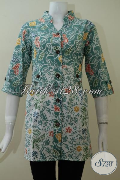 Jual Busana Batik Trendy Wanita Model Terbaru, Blus Batik Bagus Harga Terjangkau, Bisa Untuk Kerja Dan Acara Santai [BLS1999C-S]