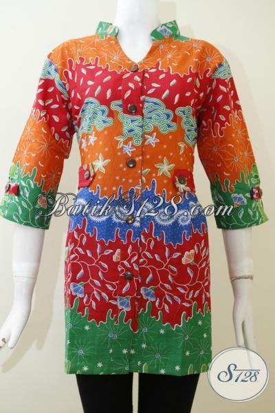 Toko Pakaian Batik Online Paling Up To Date Di Solo, Jual Blus Batik Motif Unik Berpadu Kombinasi Warna Yang Verah Dan Segar membuat Penampilan Cewek Semakin Trendy [BLS2007P-L]
