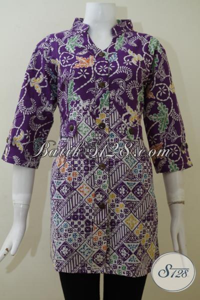 Busana Batik Ungu Desain Terbaru Untuk Cewek Tampil Modis, Baju Blus Batik Ungu Motif Modern Proses Cap Harga Terjangkau [BLS2009C-L]