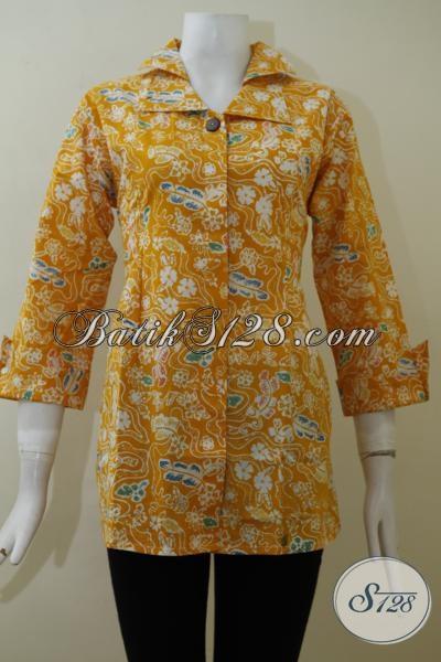 Jual Batik Blus Warna Kuning Motif Terbaru, Pakaian Batik Kerja Wanita Karir Tampil Lebih Fresh Dan Berkelas, Size S