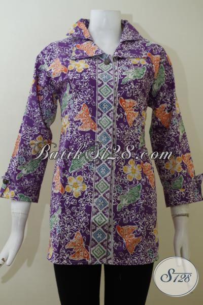 Blus Batik Keren Warna Ungu Cocok Untuk Perempuan Karir Agar Tampil Rapi Dan Terlihat Beda, Baju Batik Trendy Kwalitas Premium [BLS2018C-M]