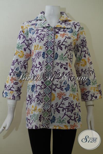 Busana Batik Blus Seragam Kerja Desain Paling Keren, Baju Batik Solo Motif Bagus Bahan Halus Nyaman Di Pakai, SIze M