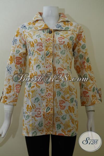 Baju Blus Batik Kuning proses Cap Model Formal Pas Buat Ke Kantor, Busana Batik Motif Keren Wanita Karir Tampil Cantik Dan Menarik, Size M