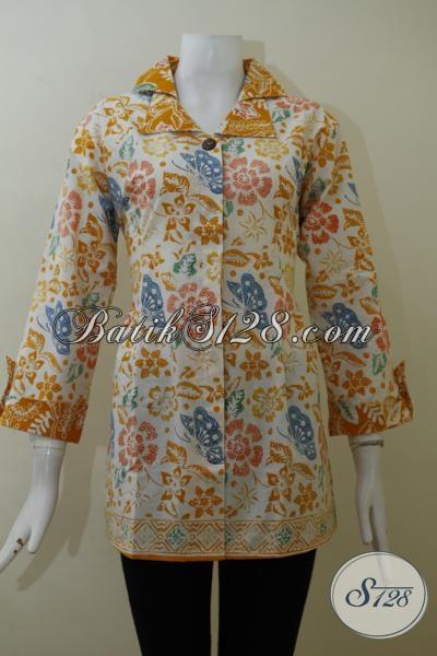 Baju Batik Kerja Wanita Muda Dan Dewasa Model Terkini, Baju Batik Trend Mode 2015 Berbahan Halus Dengan Harga Terjangkau, Size L