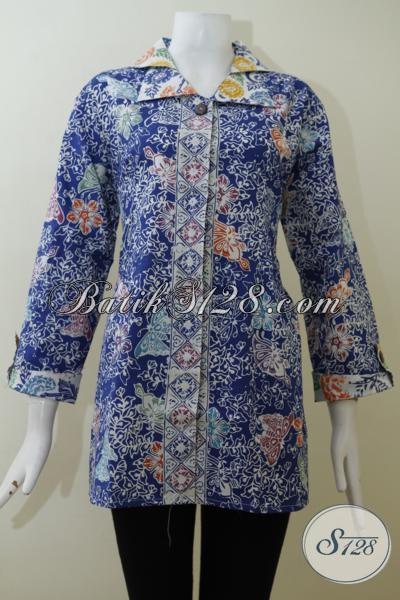 Baju Blus Batik Desain Formal Warna Biru Proses Cap Motif Modern, Pakaian Batik Lengan Tujuh Perdelapan Cocok Untuk Wanita Dewasa, Size XL