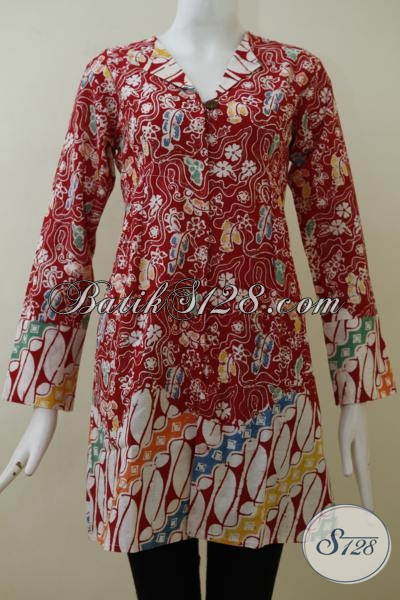 Blus Batik Lengan Panjang Warna Merah Kombinasi Putih Mewah Dengan Motif Unik Trend Masa Kini, Baju Batik Cap Berbahan Katun Halus Nyaman Di Pakai [BLS2033C-S]