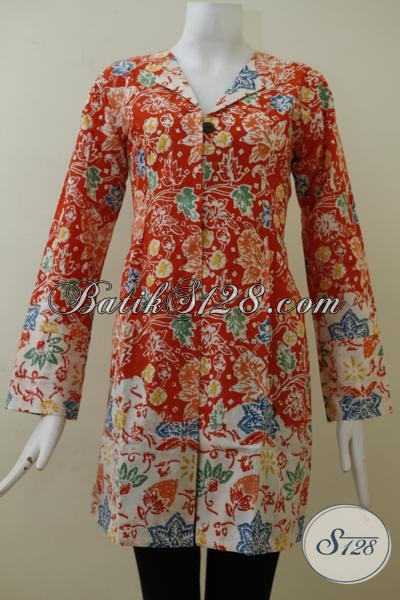 Baju Batik Perempuan Muda Dengan Kombinasi Warna Merah Dan Putih, Blus Batik Bunga-Bunga Wanita Tampil Feminim Dan Anggun, Size M