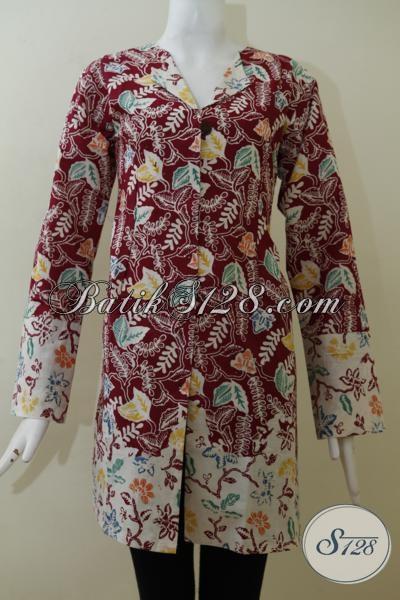 Baju Blus Batik Motif Dedaunan Warna Merah Marun Keren Banget, Pakaian Batik Wanita Muda Dan Dewasa Tampil Beda Dan Berkelas, Size L