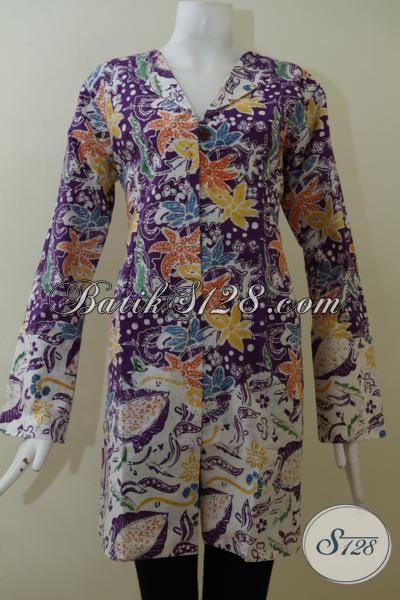 Baju  Blus Batik Ungu Motif Bunga Keren Sekali, Pakaian Batik Mewah Kwalitas Bagus Buatan Solo Harga Terjangkau, Size L