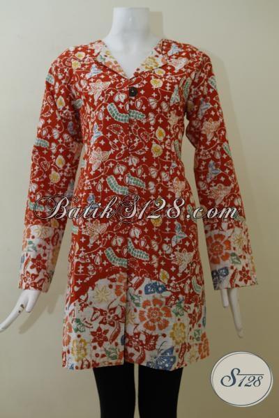 Busana Batik Wanita Model trend Paling Baru Dan Berkelas, Blus Batik Cap Buatan Solo Cewek Tampil Elegan Dan Rapi, Size  L