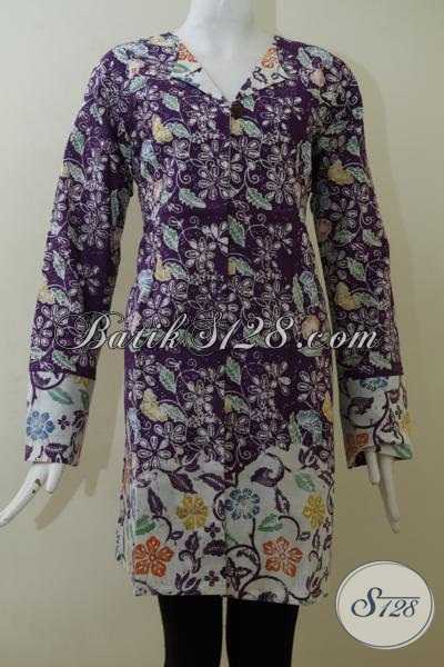 Pakaian Batik Blus Ungu Motif Paling Keren Saat Ini, Baju Batik Cewek Kerja Kantoran Tampil Lebih Bergaya, Size XL