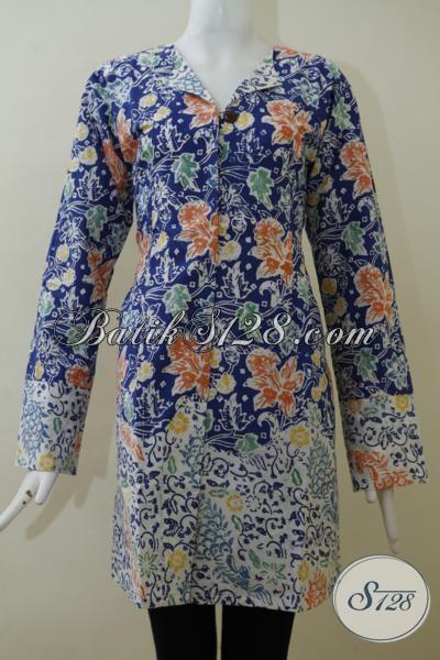 Agen Baju Batik Online Terlengkap Dan Termurah Di Solo, Sedia Blus Batik Cap Kwalitas Bagus Motif Keren Harga Terjangkau Untuk Wanita Modern, Size XL