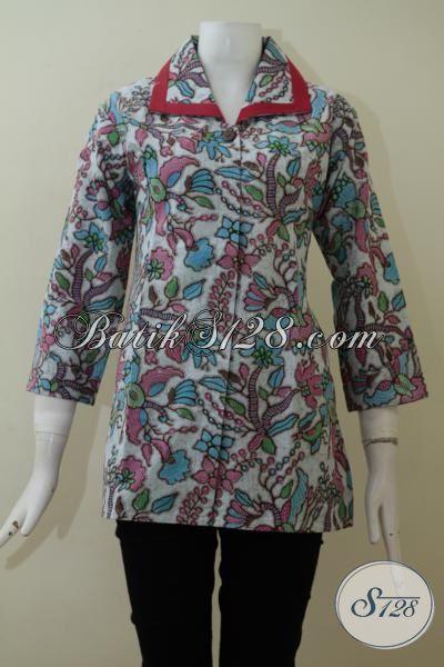 Blus Batik Print Trend Mode 2015, Baju Batik Trendy Yang Cocok Untuk Seragam Kerja Dan Acara Resmi, Size M