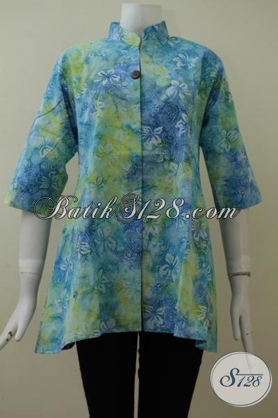 Blus Batik Cap Smoke Warna Gradasi Tampil Keren Dan Modern, Baju Batik Kerja Wanita Karir Tampil Trendy, Size S – M