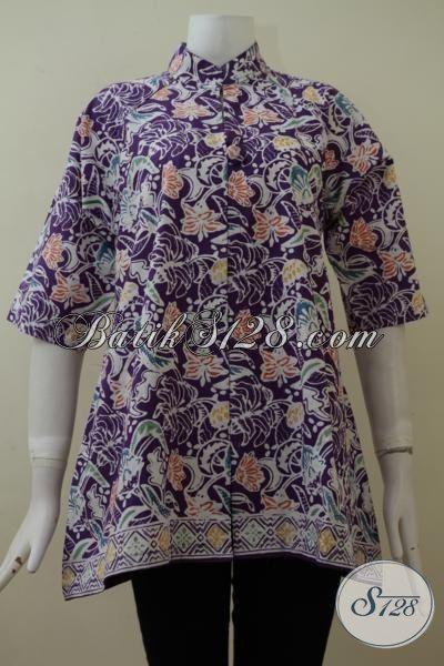 Blus Batik Kerja Wanita Karir Modern Tampil Berkelas Setiap Hari, Busana Batik Kwalitas Istimewa Motif Terbaru Proses Cap Desain Mewah, Size M