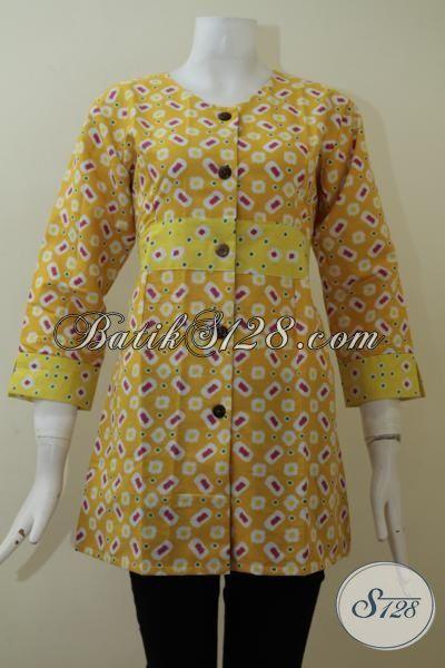 Belanja Blus Batik Trendy Warna Kuning Motif Unik Dan Simple, Baju Batik Wanita Muda Untuk Tampil Lebih Fresh Dan Cantik [BLS2089P-S]