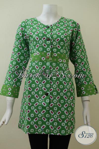 Busana Wanita Muda Karyawati Tampil Keren Dan Trendy, Baju Blus Batik Warna Hijau Halus Proses Printing Asli Solo, Size L