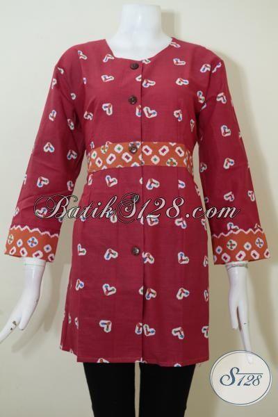 Jual Pakaian Batik Print Warna Merah Model Blus Untuk Perempuan Muda