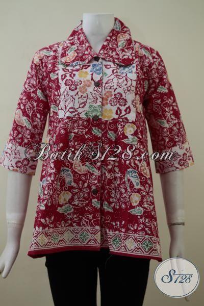 Baju Blus Batik Merah Kombinasi Putih Dengan Motif Keren Trend Masa Kini, Pakaian Batik Wanita Desain Mewah Nan Elegan Untuk Tampil Lebih Berkelas [BLS2111C-M]