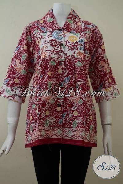 Jual Pakaian Batik Blus Eceran Dengan Harga Grosir, Busana Batik Cap Kwalitas Bagus Berpadu Motif Yang Keren Dan Berkelas, Size L