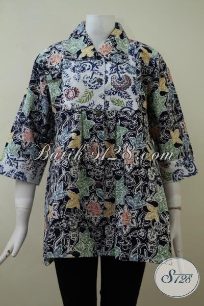 Baju Batik Kerja Perempuan Gemuk Dengan Harga Terjangkau, Batik Blus Modern Ukuran Jumbo  Juga Bisa Untuk Santai Dan Jalan-Jalan [BLS2123C-XXL]
