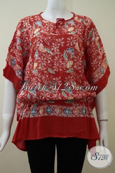 Blus Batik Bagus Desain Trend Mode 2015 Berbahan Kain Paris Yang Lembut, Batik Wanita Warna Merah Tampil Modis Dan Trendy