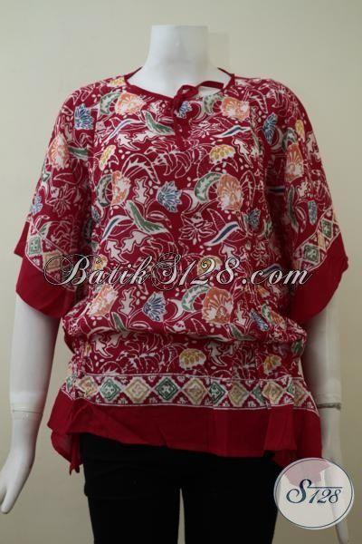Baju Batik Cap Model Paling Keren Saat Ini Dengan Bahan Kain Paris Yang Lembut, Blus Batik Warna Merah Hatik Membuat Cewek Terlihat Bersinar
