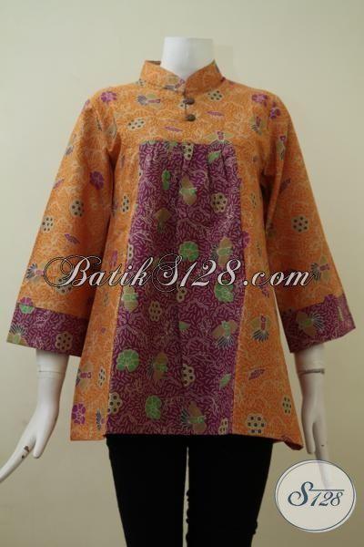 Baju Blus Batik Kombinasi Warna Merah Dan Kuning Trendy Dan Keren, Pakaian Batik  Seragam Kerja Wanita Berkarir Tampil Lebih Mewah [BLS2142P-M]