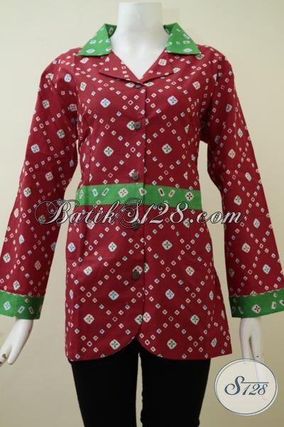Baju Batik Print Warna Merah Motif Simple Dan Trendy, Blus Batik Lengan Panjang Sangat Coco Untuk Baju Kerja Wanita Karir [BLS2147P-M , L]