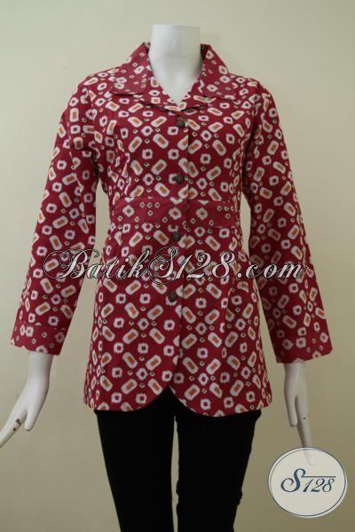 Batik Baju Kerja Warna Merah Kwalitas Bagus Berbahan Adem Dan Tidak Panas, Blus Batik Masa Kini Membuat Wanita Tampil Lebih Trendy, Size S