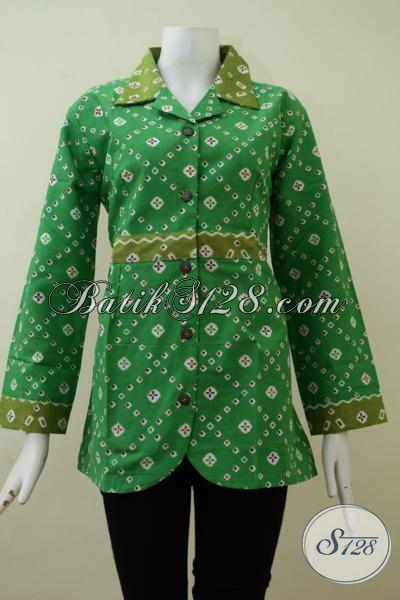 Butik Online Sedia Pakaian Batik Wanita Warna Hijau Proses Print, Baju Batik Seragam Kerja Model Terbaik Saat Ini, Size M