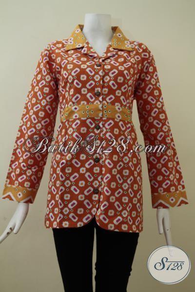 Blus Batik Orange Model Lengan Panjang Motif Trendy Baju Batik