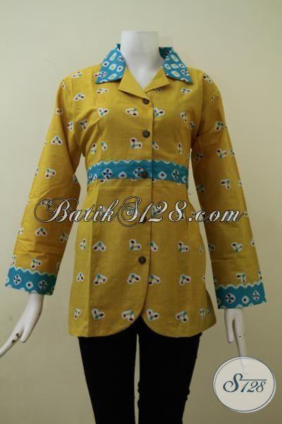 Pakaian Batik Keren Untuk Perempuan Muda Tampil Dewasa Dan Modis, Blus Batik Printing Berbahan Halus Motif Unik Warna Kuning, Size M