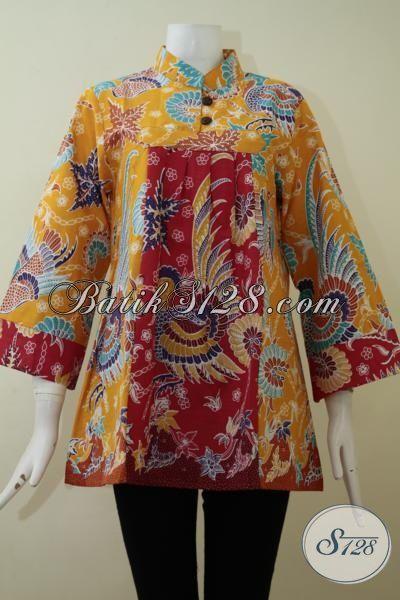 Jual Blus Batik Print Asli Produk Solo, Busana Batik Trendy Kwalitas Halus Harga Murah Meriah Di Bawah 100 Ribu [BLS2185P-L]