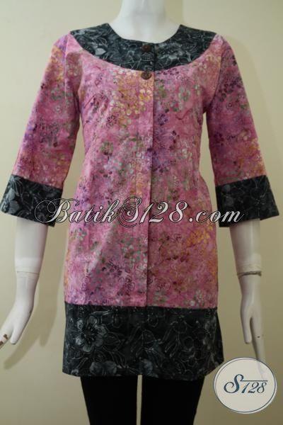Trend Pakaian Batik Formal Untuk Cewek, Baju Blus Batik Modern Desain Feminim Dengan Motif Sera Kombinasi Warna Yang Menarik [BLS2200CS-S]
