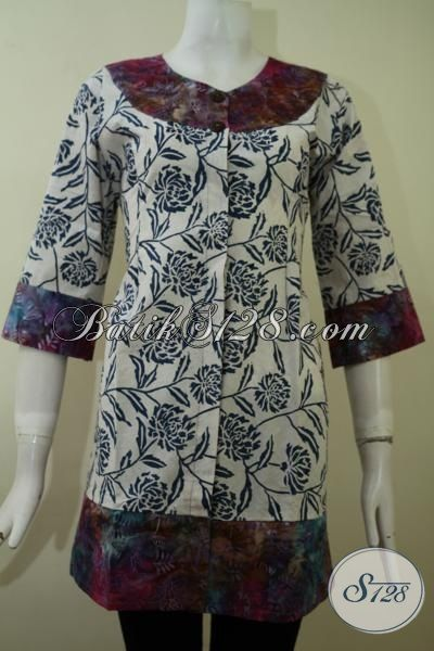 Blus Batik Dua Motif Trend Model Pakaian Perempua Masa Kini, Baju Batik Lengan Tiga Perempat Tampil Modis Dan Feminim, Size M