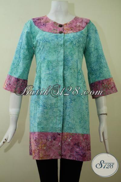 Busana Blus Batik Formal Model Paling Baru, Baju Batik Elegan Desain Mewah Cocok Untuk Para Sekretaris Perusahaan [BLS2205CS-M]