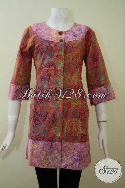 Jual Batik Wanita Cap Smoke Trend Desain 2015, Baju Batik Blus Lengan Tiga Perempat Yang Cocok Untuk Baju Kerja Maupun Santai, Size M