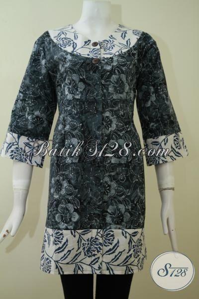 Batik Blus Keren Warna Hitam Kombinasi Putih, Blus Batik Halus Model Terkini, Batik Wanita Motif Unik Untuk Tampil  Rapi Dan Modis, Size S – L