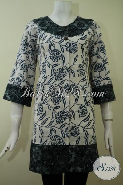 Batik Blus Motif Unik Dan Modern, Pakaian Batik Cap Smoke Berbahan Halus Adem Dan Nyaman Di Pakai, Size L