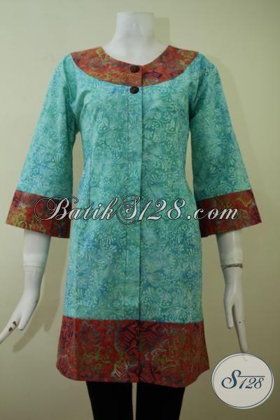 Blus Batik Cap Smoke Model Terbaru Yang Trendy Dan Keren, Batik Busana Kerja Wanita Karir, Pakaian Batik Buatan Solo Kwalitas Bagus Tidak Banyak Vulus, Size S