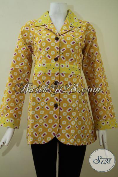 Baju Blus Batik Warna Kuning Motif Terkini, Pakaian Batik Printing Lengan Panjang Kain Halus Harga Murah Meriah, Size L – XL