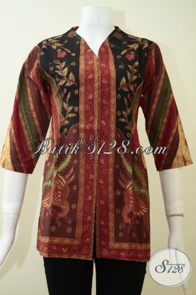 Blus Batik Klasik Motif Elegan, Pakaian Batik Kombinasi Tulis Buatan Solo Desain Formal Membuat Wanita Tampil Berkelas, Size S