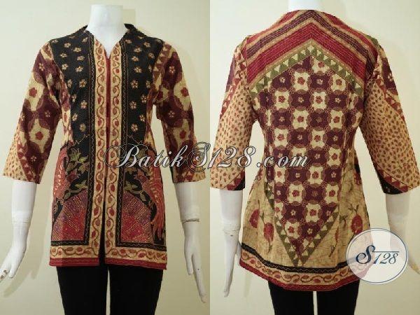 Blus Batik Motif Modern Dengan Warna Klasik, Pakaian Batik Berkelas Untuk Wanita Karir Dan Ibu Rumah Tangga Tampil Mewah, Size M
