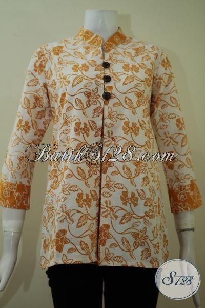 Pakaian Batik Blus Berkelas Warna Kuning Dasar Putih, Baju Batik Lengan Tiga Perempat Sangat Cocok Untuk Baju Kerja Kantoran, Size S