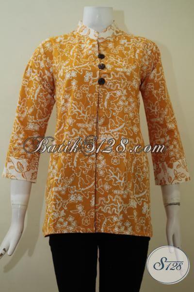 Blus Batik Cap Warna Kuning Motif Unik Dan Trendy, Busana Batik Lengan Tiga Perempat Kwalitas Halus Tampil Berkelas, Size S